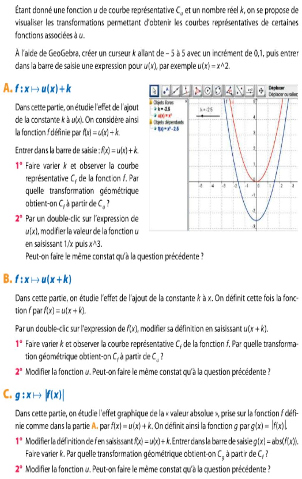 Déplacement de courbes sur géogèbra