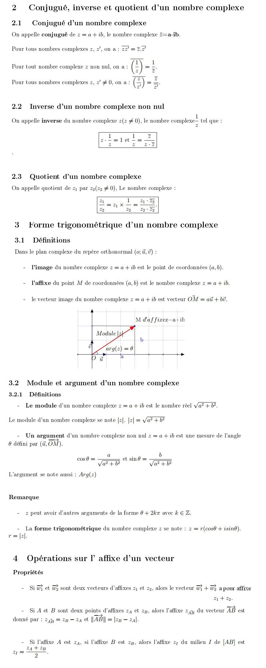 Mathbox Conjugue Inverse Quotient Et Forme Trigonometrique D Un Nombre Complexe