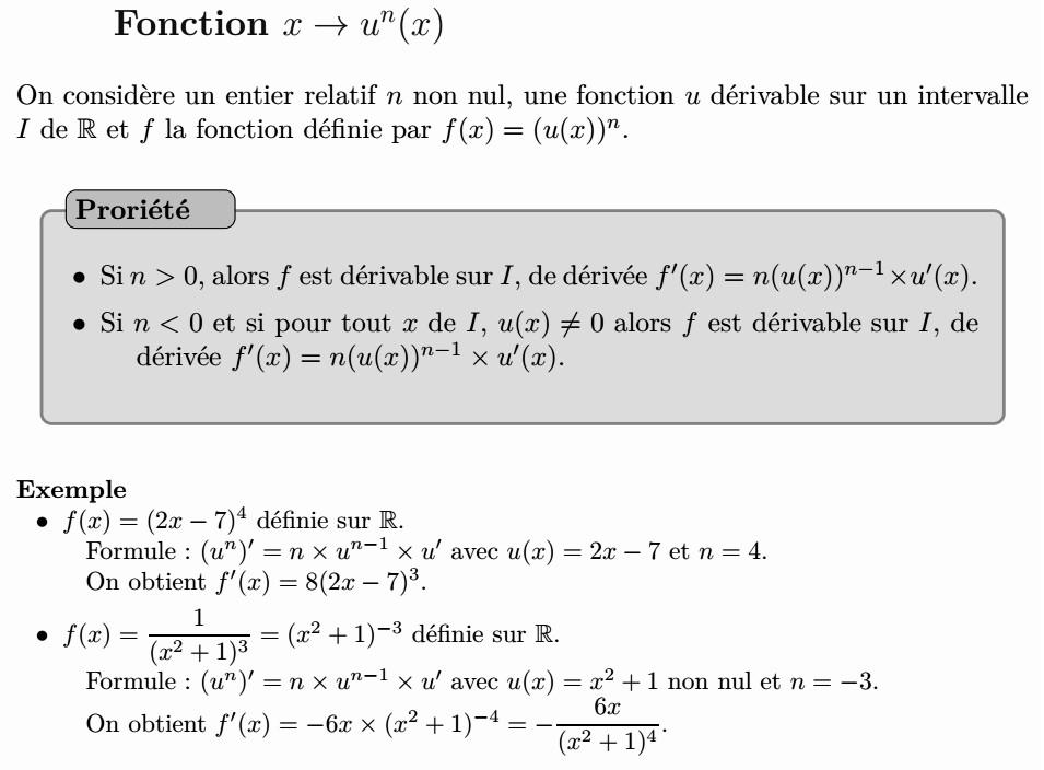 Dérivée de la fonction u^n