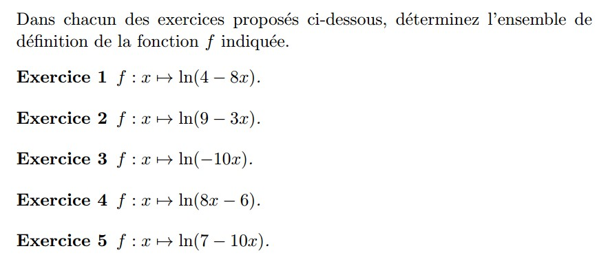 Ensemble de définition de ln de u de x
