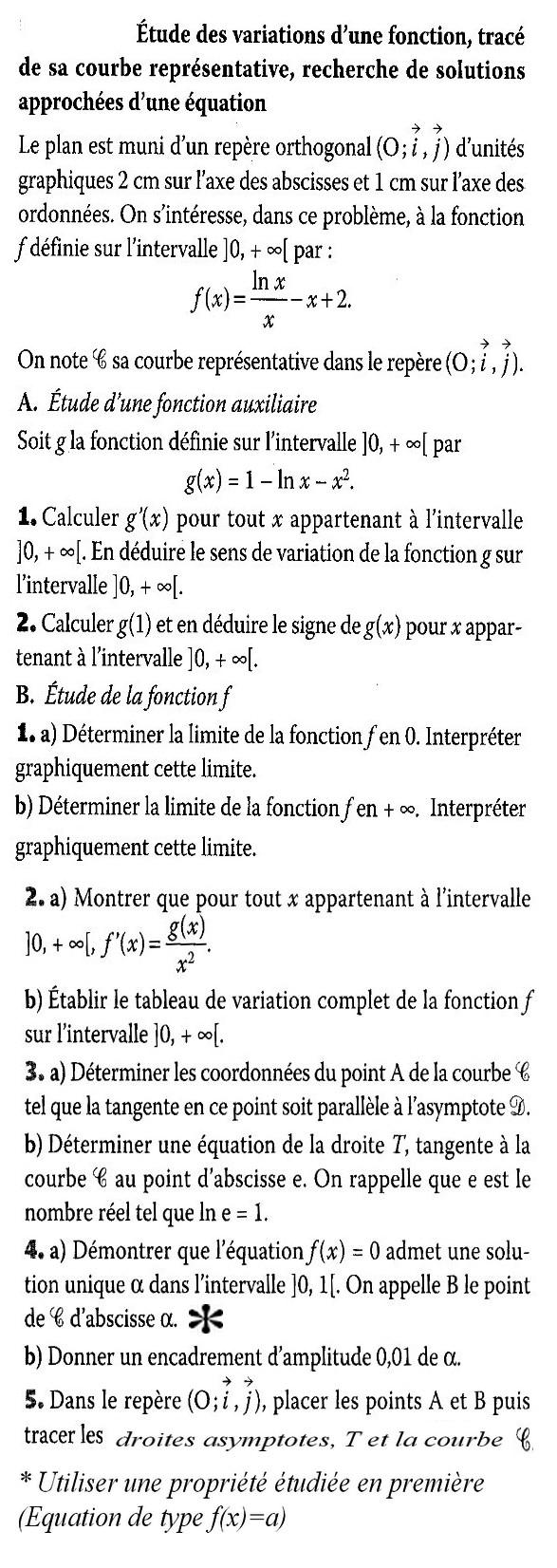 Etude d'une fonction ln