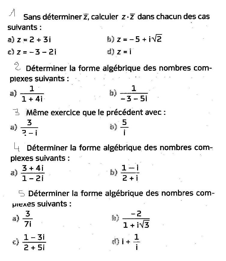 Exercice Forme algébrique inverse et quotient