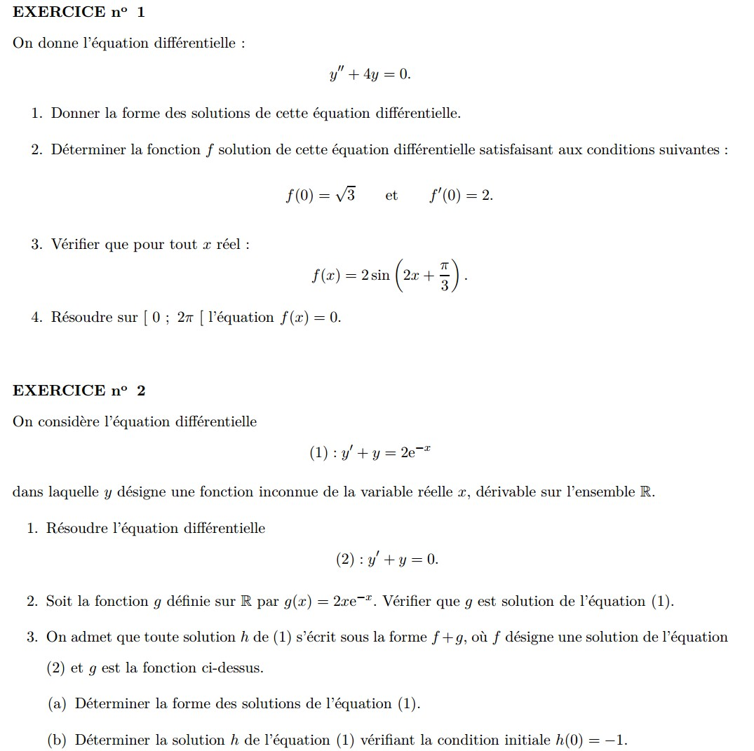 Exercices Equations differentielles