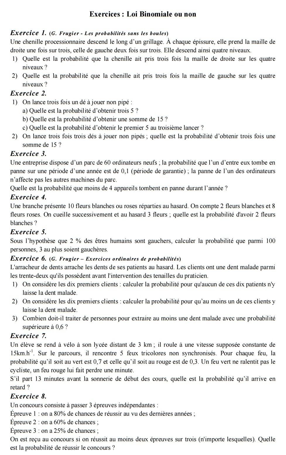Exercices Loi Binomiale ou non