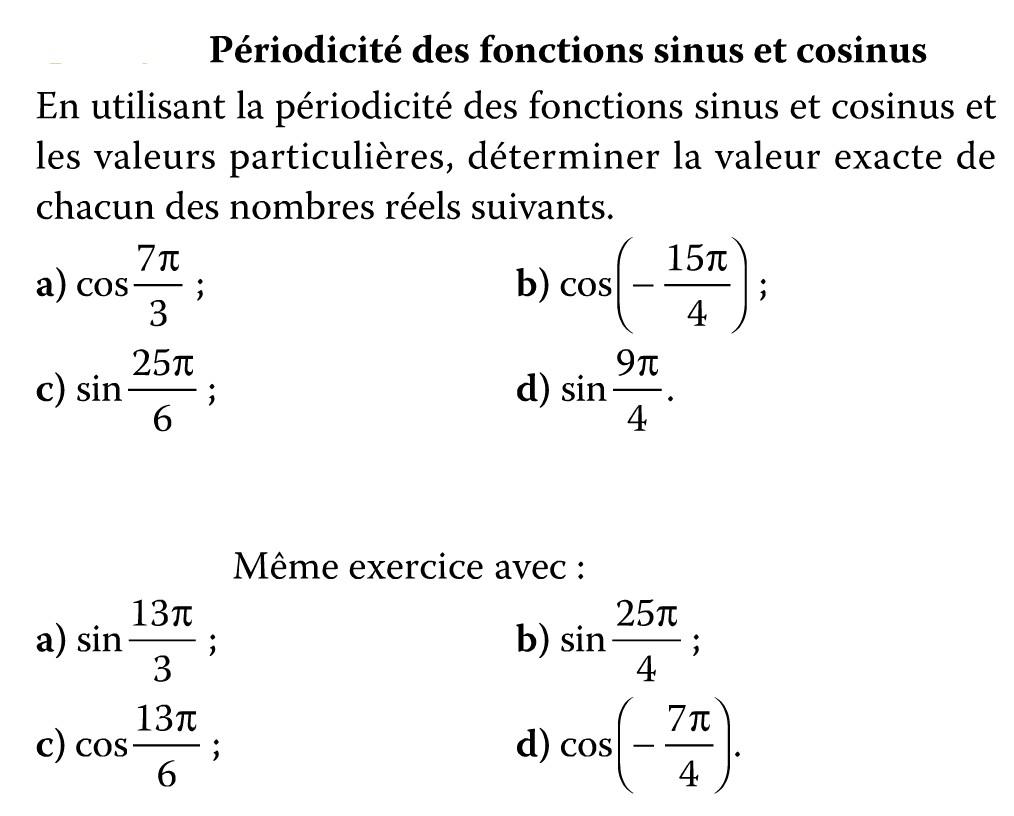 Exercices: périodicité du sinus et cosinus