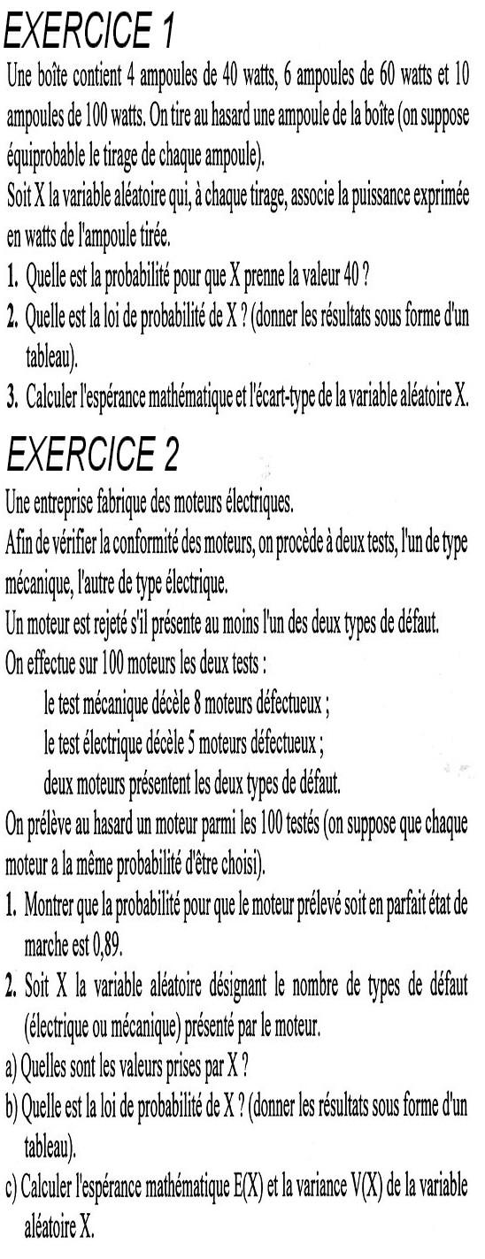 Exercices variable aléatoire