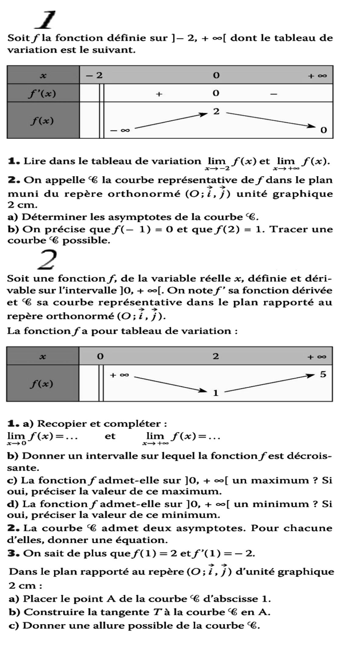 Exploiter un tableau de variation pour déterminer, des limites, asymptotes, tangentes