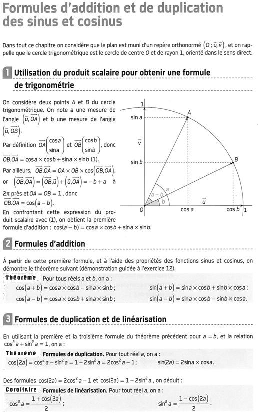 Formules d'addition et de multiplication du sinus et cosinus