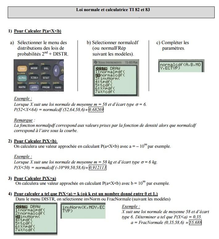 Loi normale et calculatrice TI 82 et 83