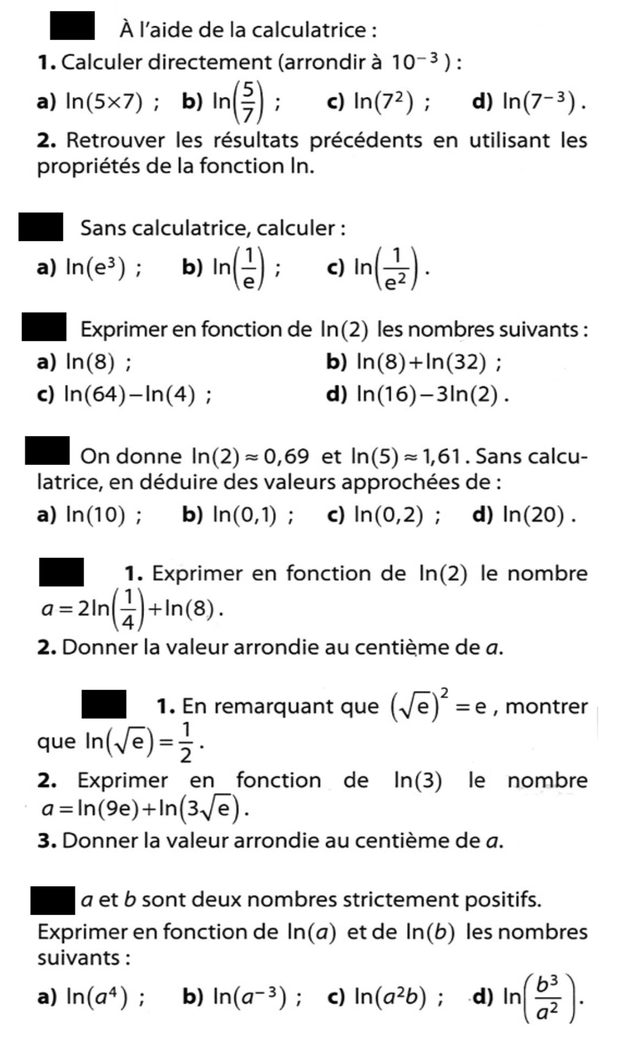Simplifier à l'aide des relations algébriques du logarithme