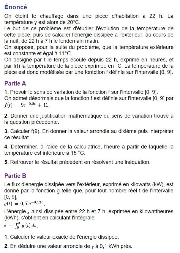 Équations différentielles type bac Terminale Mathématiques