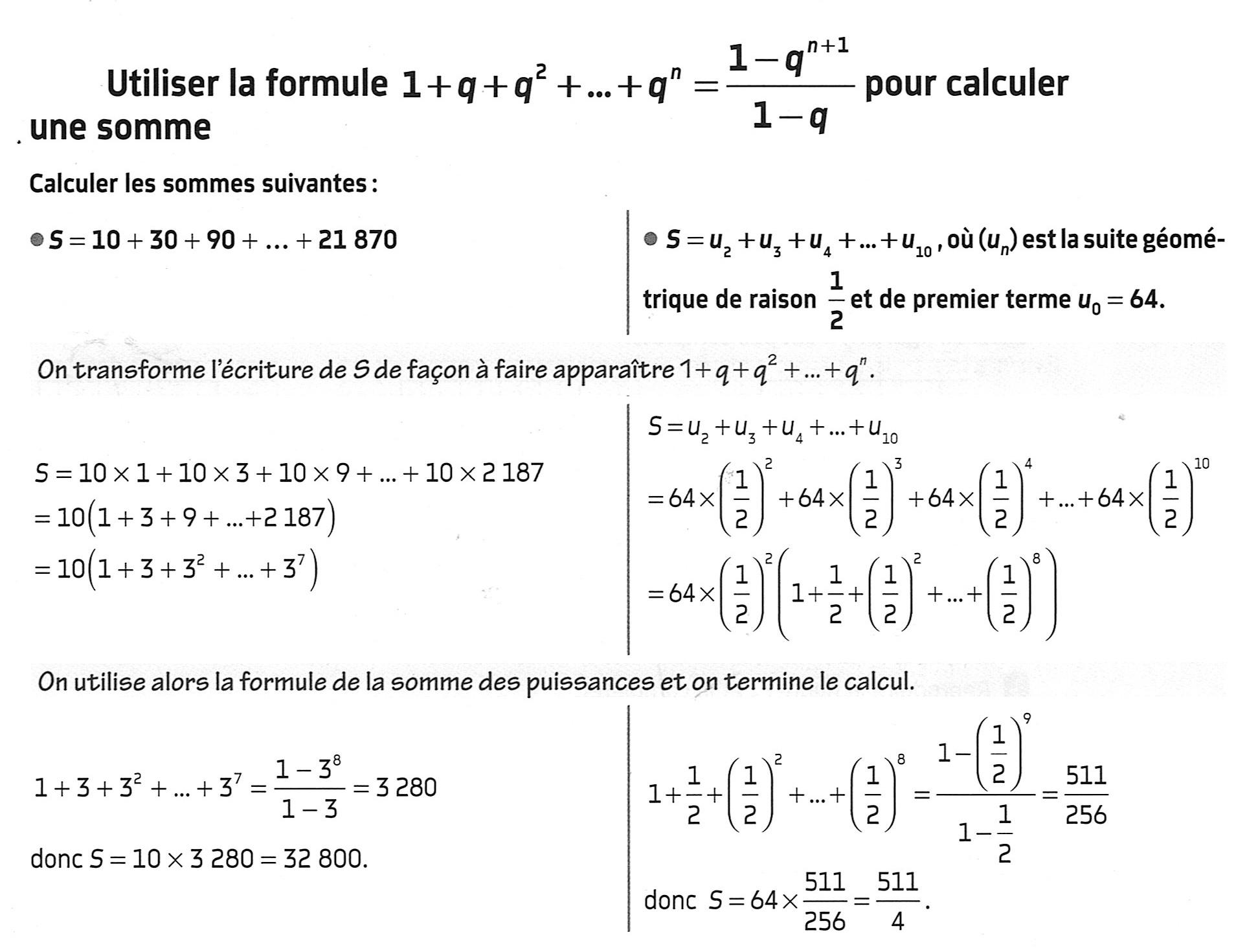 Utiliser la formule de la somme puissances succéssives
