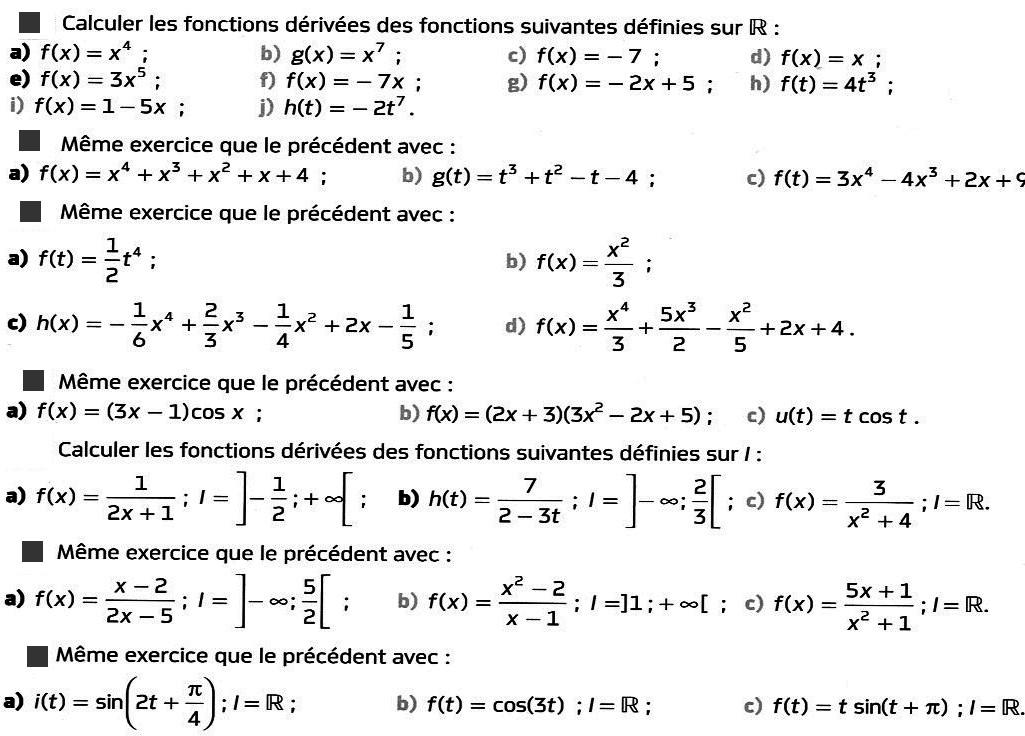 calcul de dérivées 0