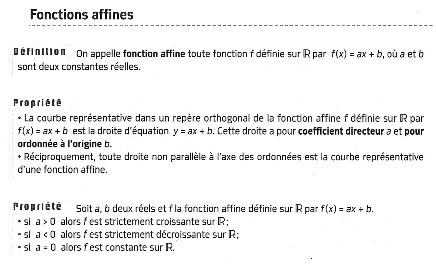 définition et propriétés d'une fonction affine