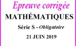 Sujet de maths avec corrigé du bac S hors Spé juin 2019