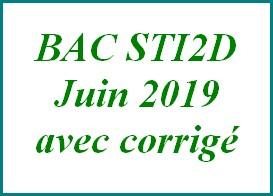 Sujet de maths avec corrigé du bac STI2D juin 2019