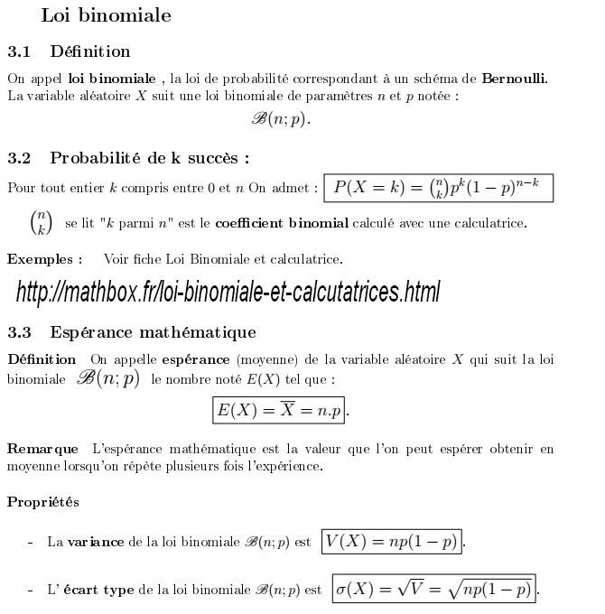 loi binomiale et calculatrices