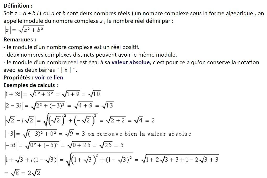module d'un nombre complexe